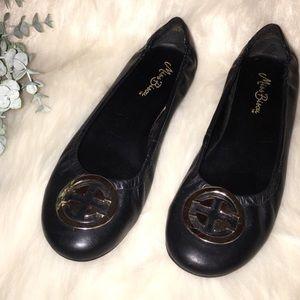 MISS BISOU Sz 8 Black Leather Flats w/Brass Logo